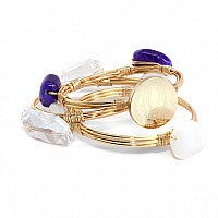 Clear Crystal and Purple Berry Stone Bead Bracelet with Blank or Monogram Engraved Gold Disk