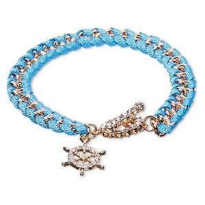 Turquoise Blue Bracelet with Czech Glass Ship Wheel charm