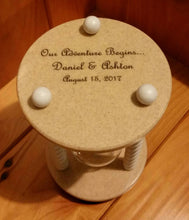 Heirloom Hourglass custom engraving Unity Sand Ceremony Hourglass Engraving on Base of Hourglass