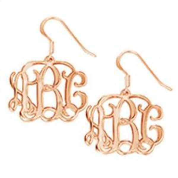 Heirloom Hourglass Earrings Rose Gold Plated Sterling Silver Monogram Earrings