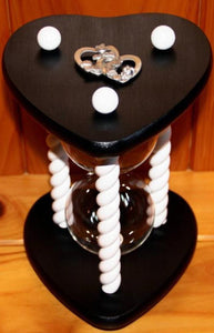 Heirloom Hourglass Heart Shaped Hourglass Heart Shaped Wedding Hourglass in Black and White Unity Hourglass