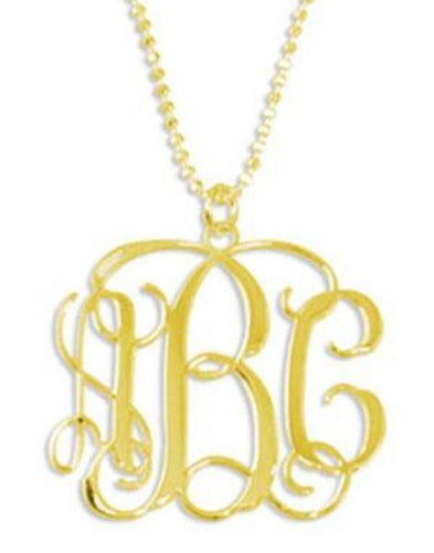 Heirloom Hourglass jewelry 18K Gold Plated Sterling Silver Monogram Necklace