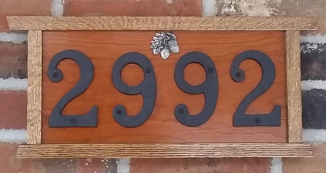 Heirloom Hourglass sign Custom Handcrafted Home Numbers Sign in Cherry and Dark Oak