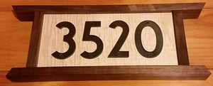 Heirloom Hourglass sign Handcrafted Home Numbers Sign in Walnut and Curly Maple