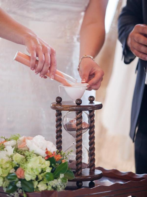 Sand Ceremony Wedding.The Lakeside Wedding Unity Sand Ceremony Hourglass In Dark Oak By Heirloom Hourglass