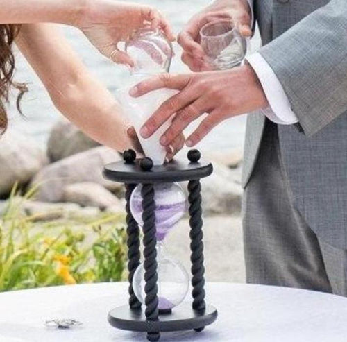 Heirloom Hourglass Unity Sand Ceremony Hourglass The Wedding Day in Black Unity Sand Ceremony Hourglass by Heirloom Hourglass