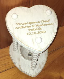 Vintage Ivory Heart Wedding Hourglass