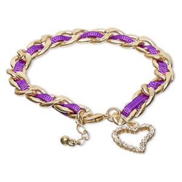 Lilac Bracelet with Czech Glass Rhinestone Heart Charm
