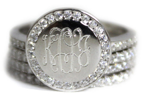 Stackable Sterling Silver CZ Ring - Plain or Monogram Engraved