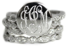 Sterling Silver Stackable CZ Ring - Plain or Monogram Engraved