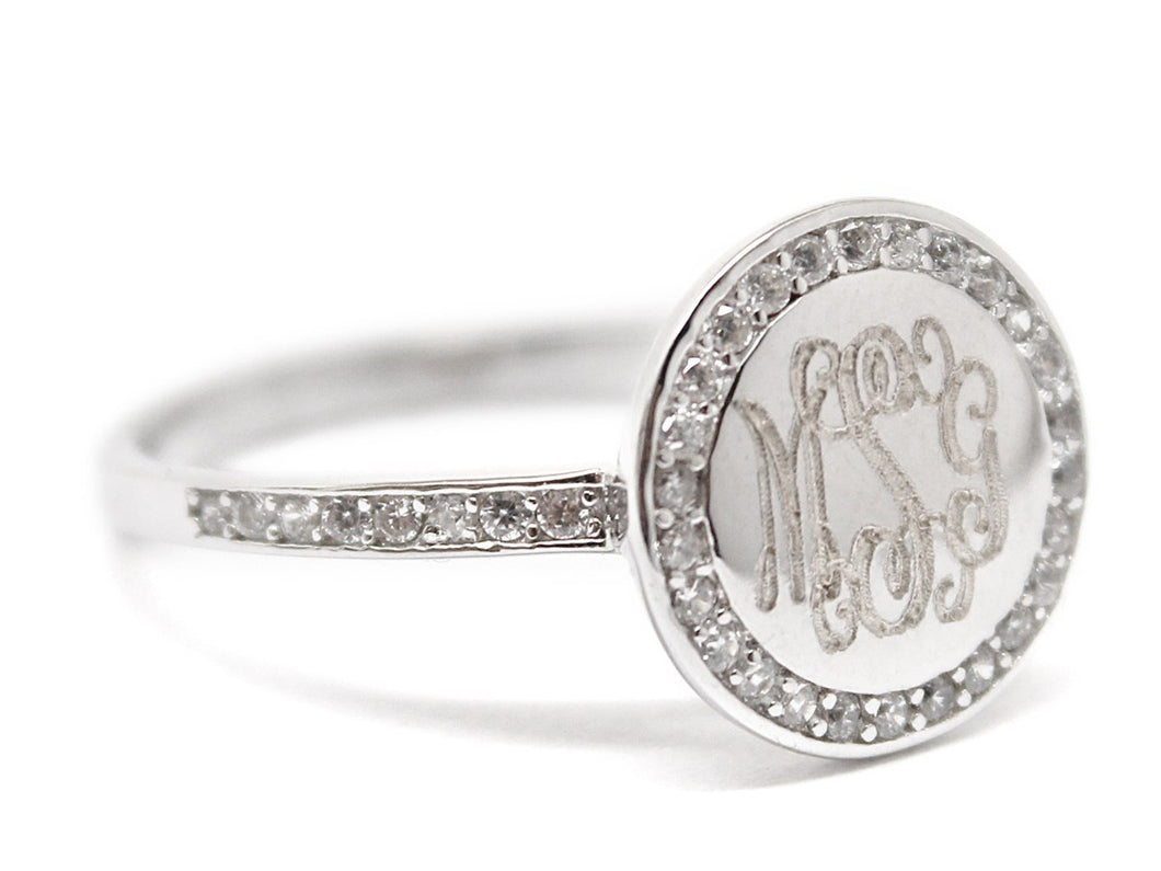 CZ and Sterling Silver Ring - Plain or Monogram Engraved