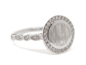 CZ Sterling Silver Ring - Plain or Monogram Engraved