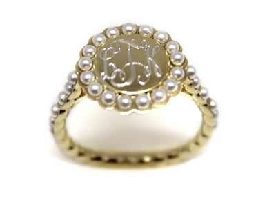 Gold and Pearl Ring - Plain or Monogram Engraved