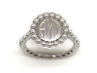 Silver and Pearl Ring - Plain or Monogram Engraved