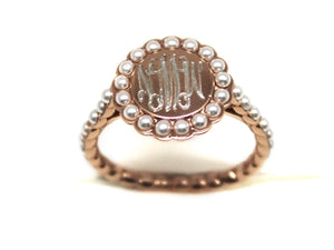 Rose Gold and Pearl Ring - Plain or Monogram Engraved