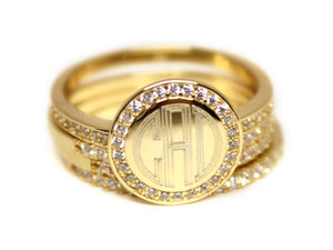 Gold with CZ Stackable Ring - Plain or Monogram Engraved