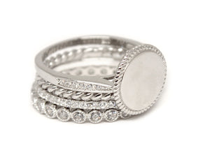 Sterling Silver Stackable Ring - Plain or Monogram Engraved
