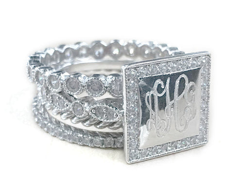 WOW Factor Sterling Silver Square Engraveable Stackable Crystals Ring - Plain or Monogram Engraved