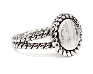 Braided Rope Sterling Silver Filigree Ring - Plain or Monogram Engraved