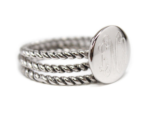 Sterling Silver Stackable Rope Ring - Plain or Monogram Engraved
