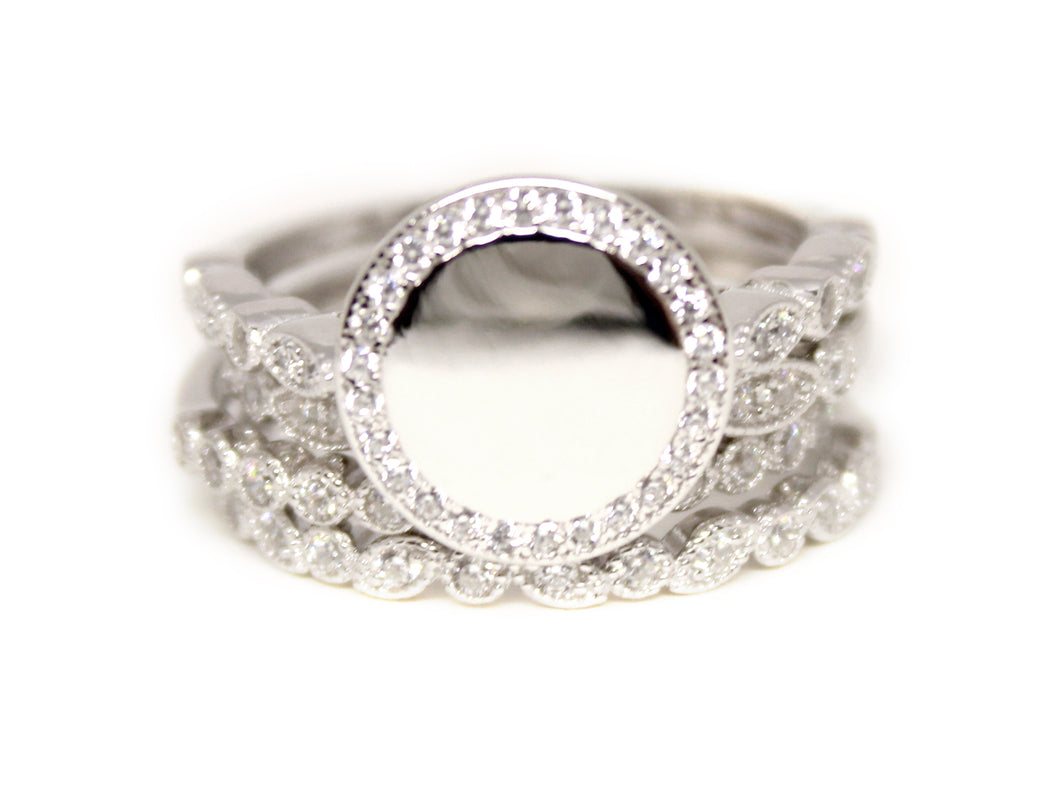 Sterling Silver Stackable CZ Trim Ring - Plain or Monogram Engraved
