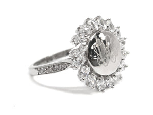 Sterling Silver Sunflower with CZ Trim Ring - Plain or Monogram Engraved