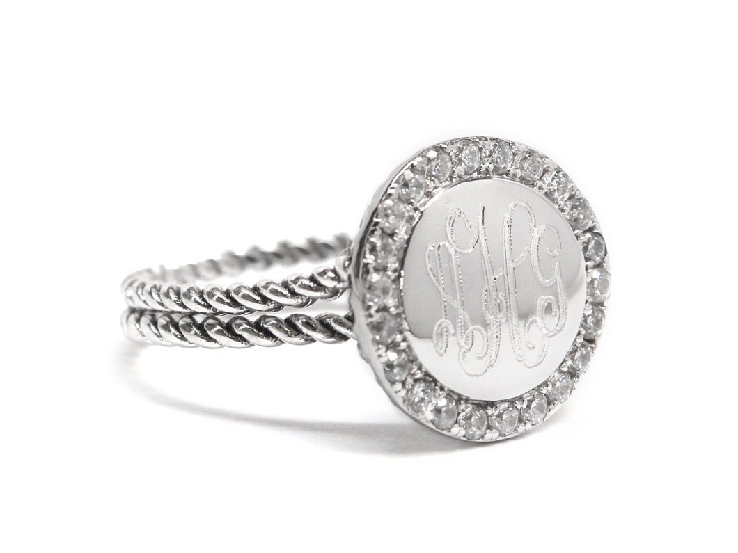 Double Braided Rope Sterling Silver with CZ Ring - Plain or Monogram Engraved