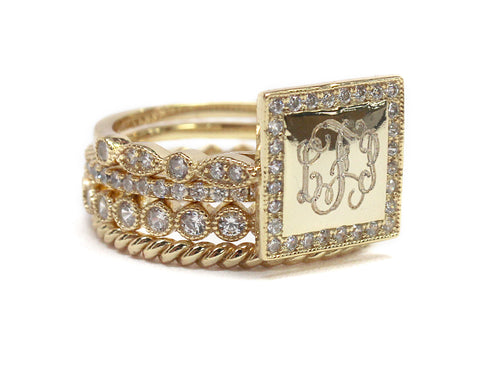 Gold Plated Square Sterling Silver with CZ Stackable Ring - Plain or Monogram Engraved