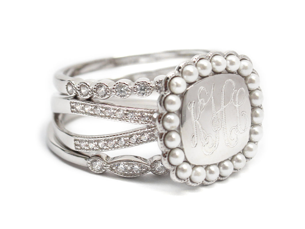 Sterling Silver Triple band with Pearls Stackable Ring - Plain or Monogram Engraved