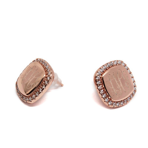 Rose Gold and CZ Earrings - Plain or Monogram Engraved