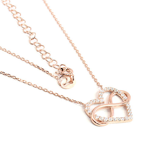 Sterling Silver Infinity Heart Necklace in Rose Gold Finish