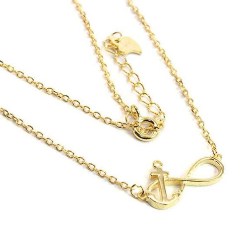 Infinity Anchor Necklace in Gold