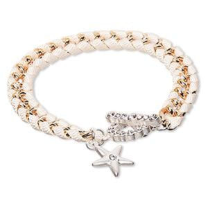 White and Rose Gold Bracelet with Czech glass rhinestone starfish charm
