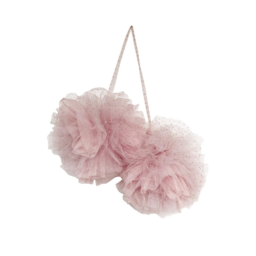 Large sparklig Pom Pom girlang, light pink - Spinkie Baby