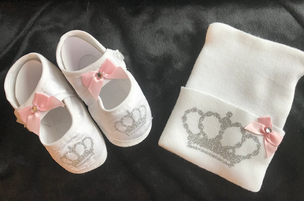 Crown Booties and Hospital Hat Set