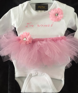 """I've Arrived"" Onesie & Tutu Outfit"