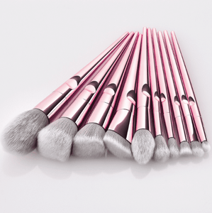 Glowii 10pcs Light Rose-Gold Champagne Makeup Brush Set