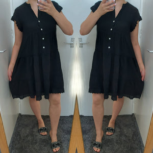 Tally Frill Smock Dress - Black
