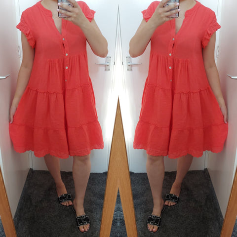 Tally Frill Smock Dress - Coral