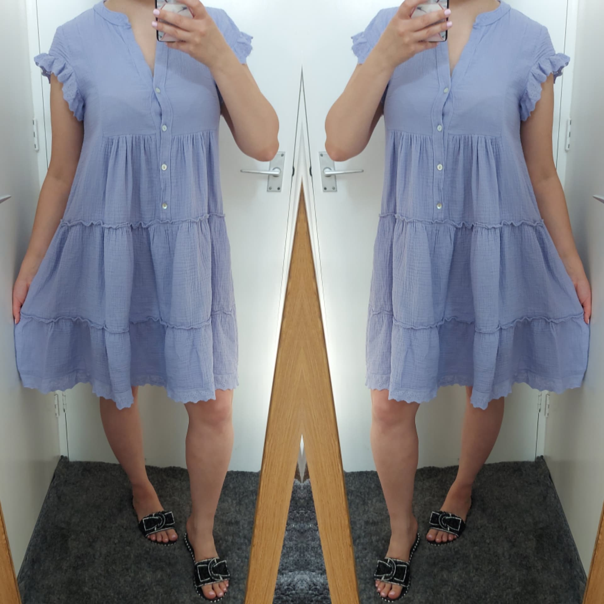 Tally Frill Smock Dress - Purple