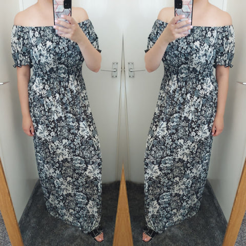 Lora Floral Bardot Maxi Dress - Black
