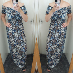 Lora Floral Bardot Maxi Dress - Blue