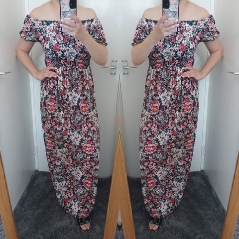 Lora Floral Bardot Maxi Dress - Red