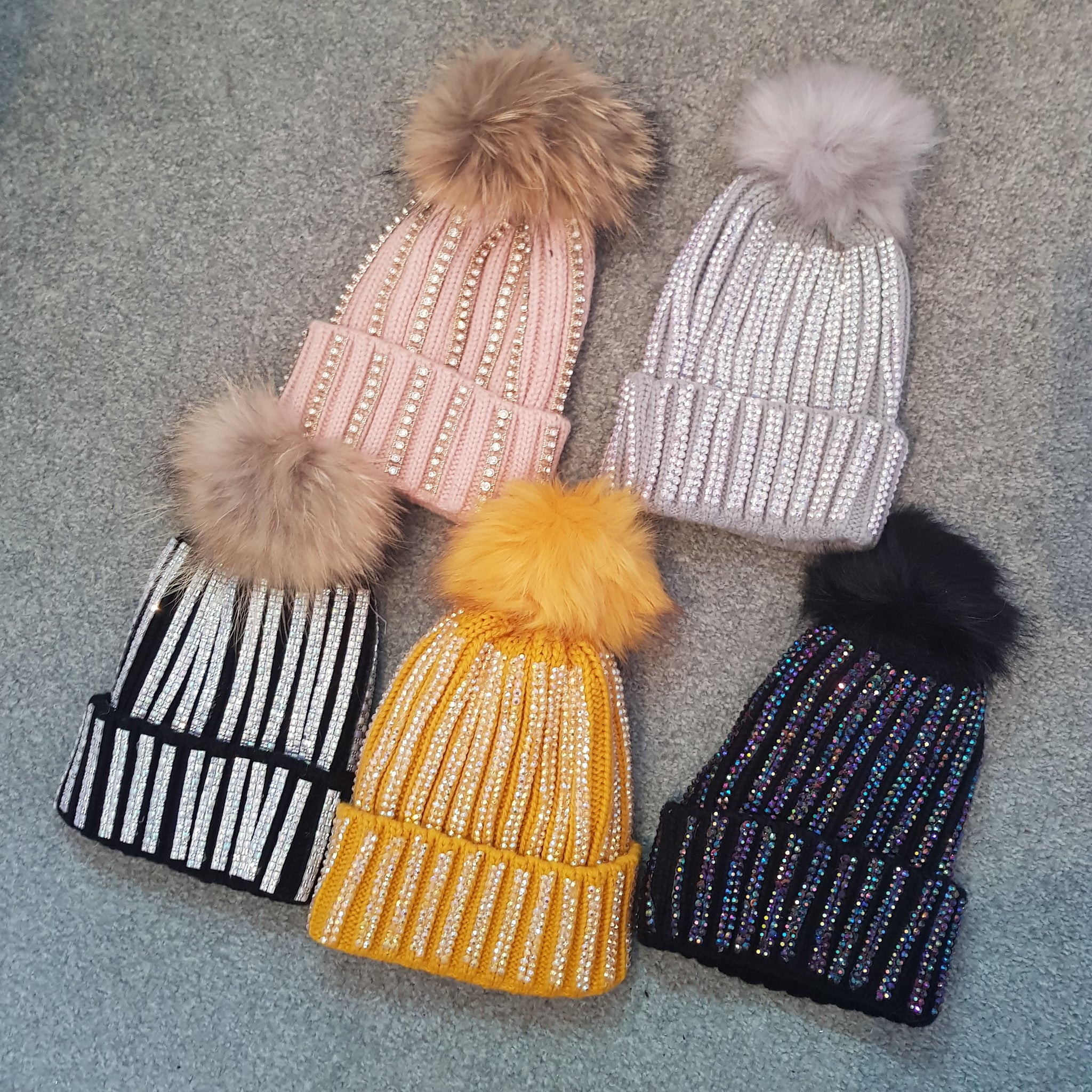 Diamante Pompom Hat - 5 Colours
