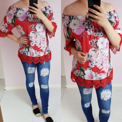Red Floral Off Shoulder Top