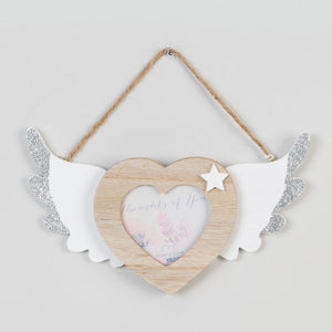 "Memorial 3"" x 3"" - Thoughts of You Hanging Heart Frame with Wings"