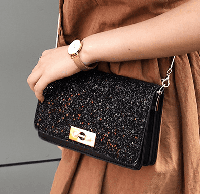Glitter Clutch Bag With Chain - Black
