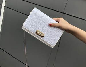 Glitter Clutch Bag With Chain - White