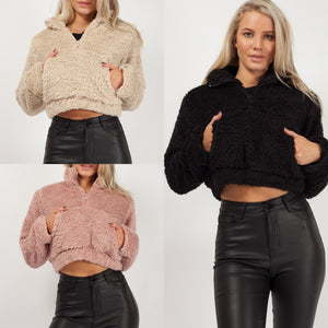 Teddy Fleece Cropped Jumper