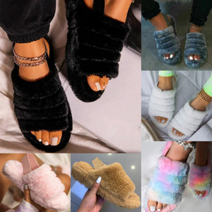 Fluffy Faux Fur Slippers - 6 colours